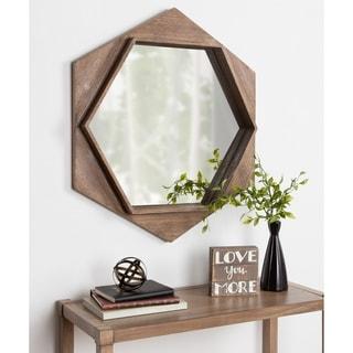 "Kate and Laurel Yandel Hexagon Wooden Wall Mirror - Brown - 30"" diameter"