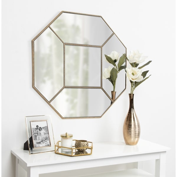 Kate and Laurel Wentworth Decorative Beaded Gold Leaf Octagon Wall Mirror