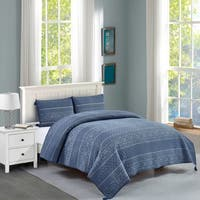 Baymouth Cotton Quilt Set in Blue