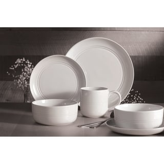 Link to Dinnerset 16Pcs White Stoneware Ridge Similar Items in Dinnerware