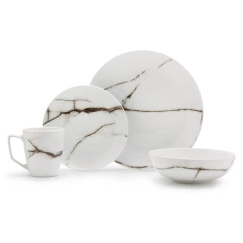 Dinnerset 16-Piece Marble Porcelain Dinnerware Set