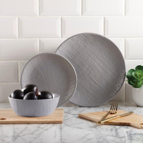 Dinnerset 12Pcs Grey Linen Embossed