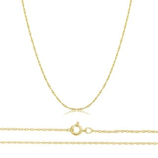 "Solid 14K Yellow, White Or Rose Gold 0.8mm Thin Rope Chain 16""-30"""