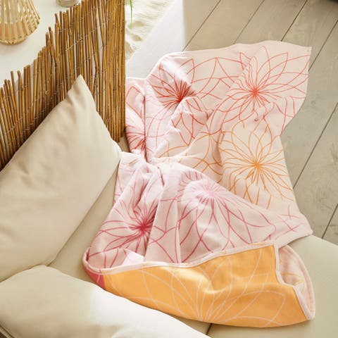 IBENA Reversible Flowers Jacquard Cotton Throw Blanket Roosendaahl