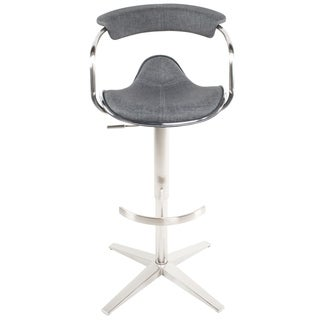 MIX Brushed Stainless Steel Adjustable Height Swivel Faux Leather Stool with Arms With X Base