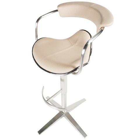 MIX Brushed Stainless Steel Adjustable Height Swivel Faux Leather X Base Stool with Arms