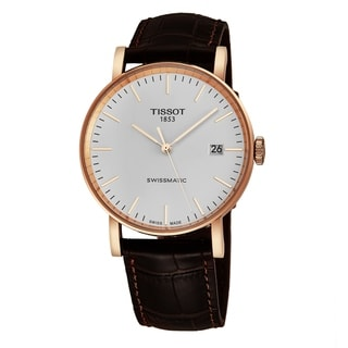 Link to Tissot Men's T109.407.36.031.00 'Everytime' Silver Dial Brown Leather Strap Rose Goldtone Swiss Automatic Watch Similar Items in Men's Watches
