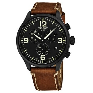 Tissot Men's T116.617.36.057.00 'Chrono XL' Black Dial Beige Leather Strap Swiss Quartz Watch