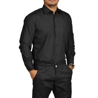 Boltini Brand Mens Fitted Button Down Long Sleeve Dress Shirt Black