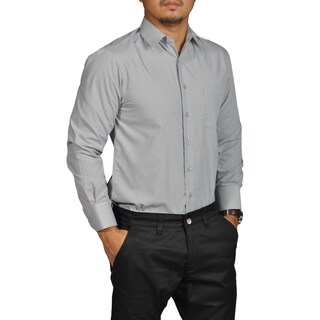Boltini Brand Mens Fitted Button Down Long Sleeve Dress Shirt Gray