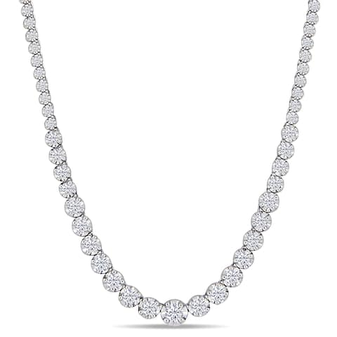 Miadora 14k White Gold 2-2/5ct TDW Diamond Graduated Tennis Necklace