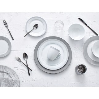 Dinnerset Round Rim 16Pcs - Grey Dot