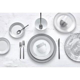 Dinnerset Round Rim 16Pcs - Grey Line