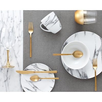 Porcelain Marble Dinnerware Set (16 pieces)