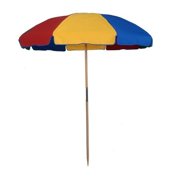 MyUmberllaShop 7.5 Ft. Wood Beach Umbrella with Beach Ball Color cover