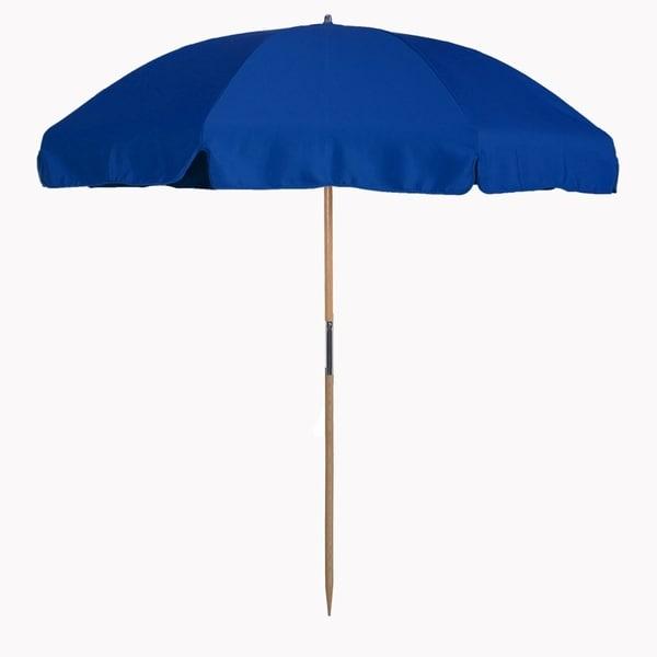 MyUmbrellaShop 7.5 ft. Wood Beach Umbrella with Classic Royal Blue cover
