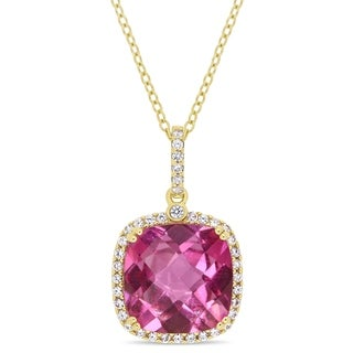 Miadora Yellow Plated Sterling Silver Pink Topaz and White Sapphire Halo Drop Necklace