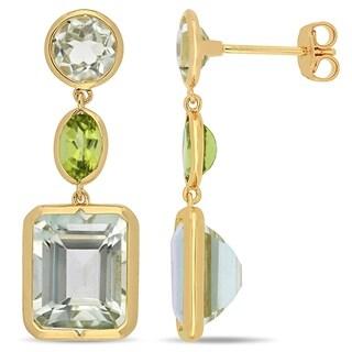 Miadora Yellow Plated Sterling Silver Green Amethyst & Peridot Link Dangle Earrings