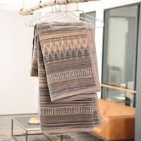 IBENA Ethnic Earthen Toned Jacquard Velour Throw Blanket Sihara