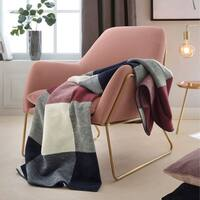 IBENA Red/Blue Classic Plaid Jacquard Velour Throw Blanket