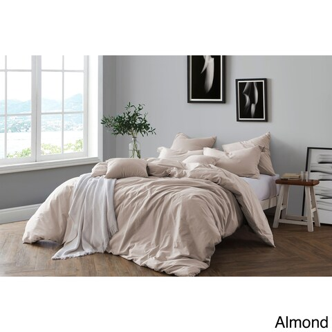 All Natural Prewashed Yarn Dye 100% Cotton Premium Wrinkled Look King/Cal King Size Duvet Cover Set in Pale Blue (As Is Item)