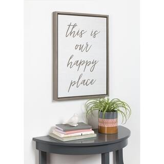 DesignOvation Sylvie Happy Place Typography Framed Canvas - gray - 18x24