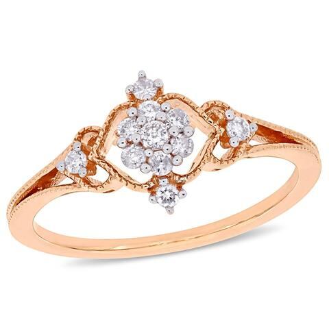 Miadora 10k Rose Gold 1/6ct TDW Diamond Floral Cluster Vintage Ring