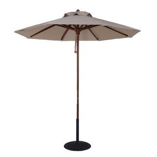 MyUmbrellaShop 7.5 Ft. Wood Market Umbrella with Natural White Cover