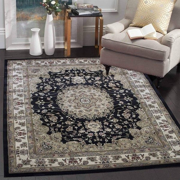 Traditional Persian Rug Carpet Black Ivory Tabriz 412 Black Ivory
