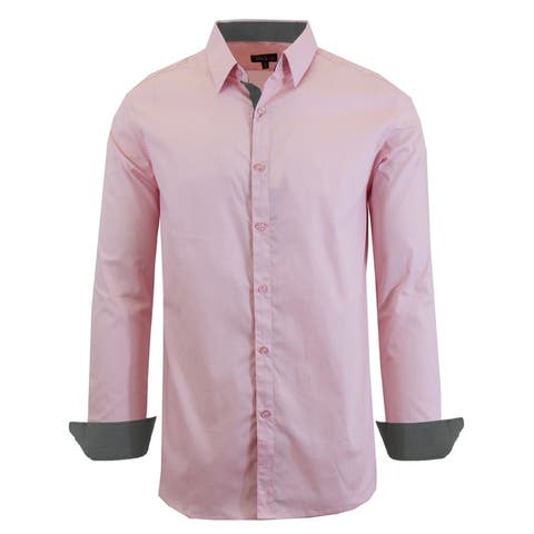 Galaxy by Harvic Men's Long Sleeve Solid Slim Fit Casual Dress Shirts