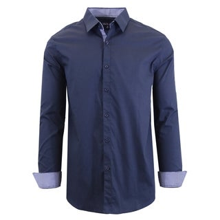 Link to Galaxy by Harvic Men's Long Sleeve Solid Slim Fit Casual Dress Shirts Similar Items in Shirts