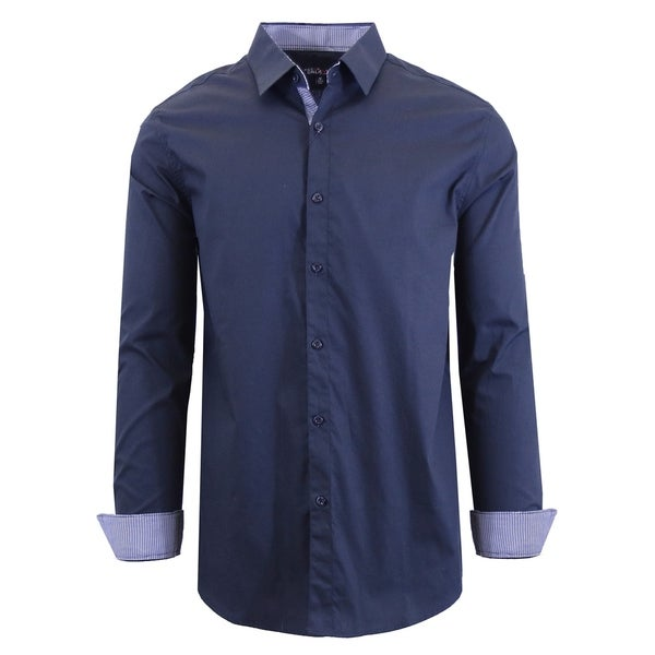 Galaxy by Harvic Men's Long Sleeve Solid Slim Fit Casual Dress Shirts. Opens flyout.