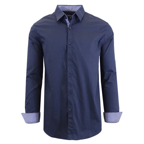 dca415c8 Galaxy By Harvic Men's Long Sleeve Solid Slim Fit Casual Dress Shirts