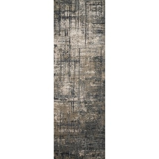 "Vintage Glam Grey/ Moss Green Abstract Area Rug - 2'7"" x 8'"