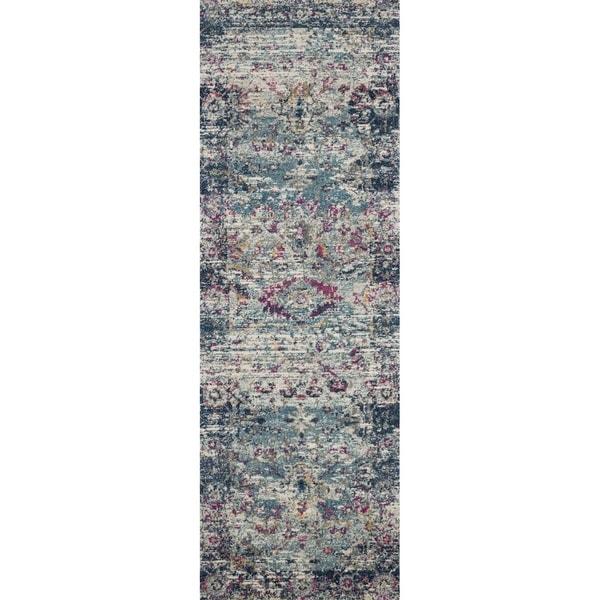 Shop Bohemian Teal/ Blue Vintage Distressed Runner Rug