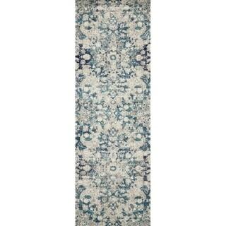 "Bohemian Blue/ Grey Vintage Distressed Floral Runner Rug - 2'7"" x 7'7"" Runner"