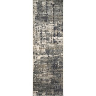 "Vintage Glam Dark Grey/ Ivory Abstract Area Rug - 2'7"" x 10'"