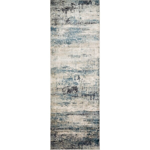 """Vintage Glam Grey/ Blue Abstract Area Rug - 2'7"""" x 8'"""