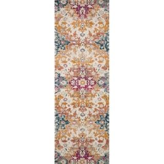 "Bohemian Sunset Orange/ Multi Vintage Distressed Floral Runner Rug - 2'7"" x 10' Runner"