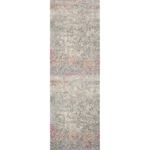 """Bohemian Grey/ Multi Vintage Distressed Floral Runner Rug - 2'7"""" x 12' Runner"""