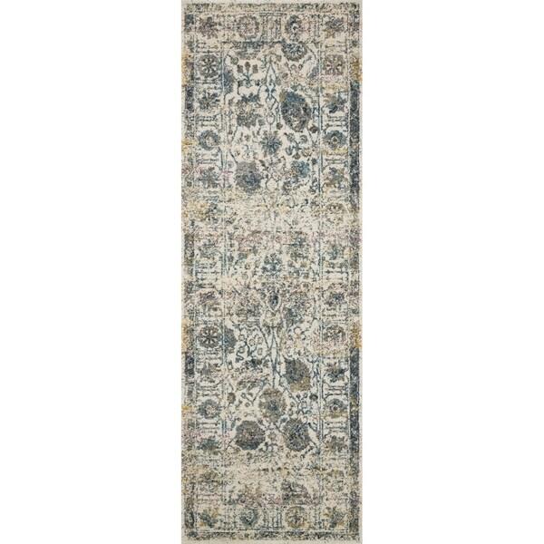 "Bohemian Ivory/ Multi Vintage Distressed Floral Runner Rug - 2'7"" x 10' Runner"