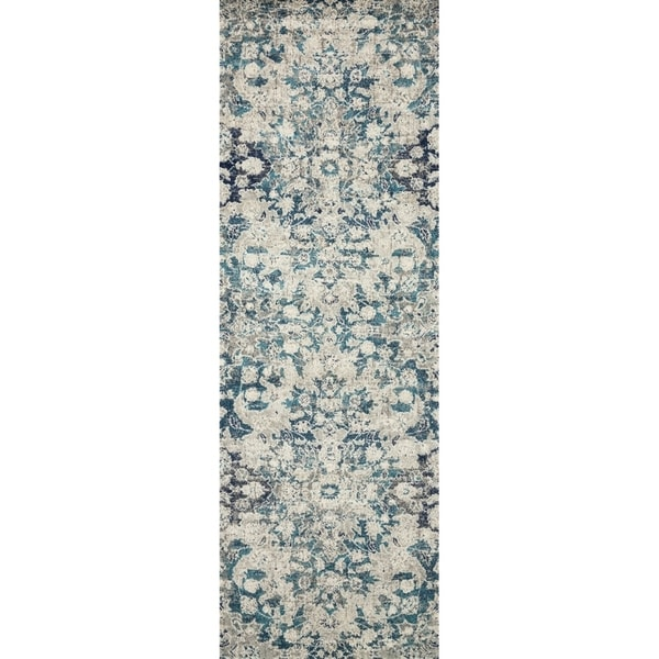 "Bohemian Blue/ Grey Vintage Distressed Floral Runner Rug - 2'7"" x 12' Runner"