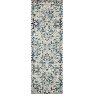 "Bohemian Blue/ Grey Vintage Distressed Floral Runner Rug - 2'7"" x 12' Runner"