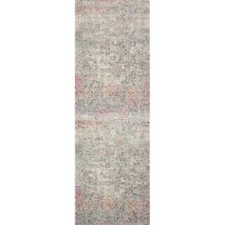 """Bohemian Grey/ Multi Vintage Distressed Floral Runner Rug - 2'7"""" x 7'7"""" Runner"""