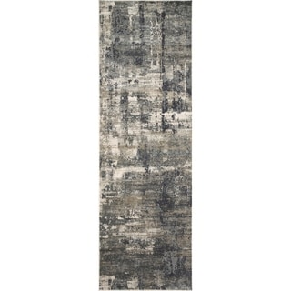 "Vintage Glam Dark Grey/ Ivory Abstract Area Rug - 2'7"" x 12'"