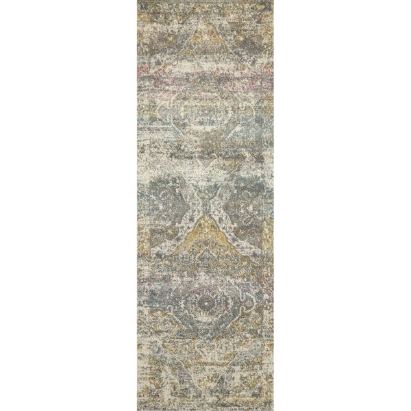 "Bohemian Stone Grey Vintage Distressed Medallion Runner Rug - 2'7"" x 12' Runner"