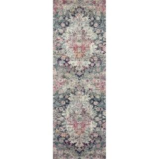 """Bohemian Mist Grey/ Multi Vintage Distressed Floral Runner Rug - 2'7"""" x 10' Runner"""