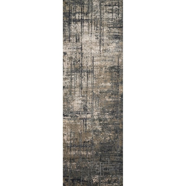 "Vintage Glam Grey/ Moss Green Abstract Area Rug - 2'7"" x 10'"