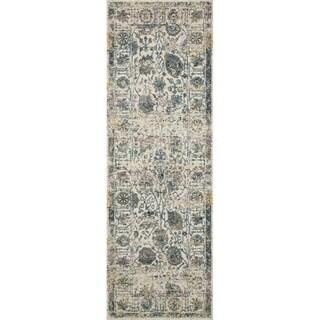 "Bohemian Ivory/ Multi Vintage Distressed Floral Runner Rug - 2'7"" x 12' Runner"