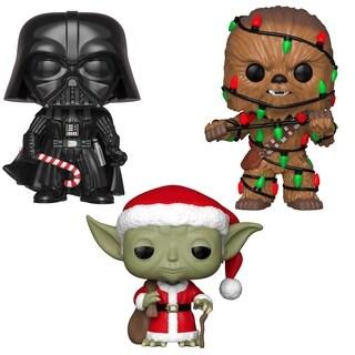 Funko POP! Star Wars Holiday Collectors Set - Darth Vader w/Chase, Santa Yoda, Chewie w/ Lights